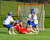 Baldwinsville Bees Peter Fiorni III (13) being defended by Cazenovia Lakers in Section III Boys Lacrosse action at the Sean M. Googin Memorial Sports Complex in Cazenovia, New York on Tuesday, May 10, 2016.  Cazenovia won 10-8.