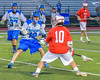 Baldwinsville Bees Dillon Darcangelo (10) being defended by Cicero-North Syracuse Northstars Brandon O'Brien (12) in Section III Boys Lacrosse action at the Bragman Stadium in Cicero, New York on Thursday, May 12, 2016.  Baldwinsville won 7-6 in OT.