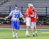Baldwinsville Bees Ryan Gebhardt (20) gets congratulated after scoring the winning goal in overtime against the Cicero-North Syracuse Northstars in Section III Boys Lacrosse action at the Bragman Stadium in Cicero, New York on Thursday, May 12, 2016.  Baldwinsville won 7-6 in OT.