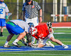 Baldwinsville Bees Ryan ingerson (3) facing off against Cicero-North Syracuse Northstars Drew Flack (8) in Section III Boys Lacrosse action at the Bragman Stadium in Cicero, New York on Thursday, May 12, 2016.  Baldwinsville won 7-6 in OT.