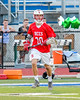 Baldwinsville Bees Ryan Gebhardt (20) with the ball against the Cicero-North Syracuse Northstars in Section III Boys Lacrosse action at the Bragman Stadium in Cicero, New York on Thursday, May 12, 2016.  Baldwinsville won 7-6 in OT.