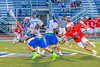 Baldwinsville Bees Patrick Delpha (11) runs after Cicero-North Syracuse Northstars Brandon O'Brien (12) in Section III Boys Lacrosse action at the Bragman Stadium in Cicero, New York on Thursday, May 12, 2016.  Baldwinsville won 7-6 in OT.