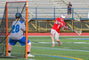 Baldwinsville Bees Charlie Bertrand (6) leaning into a shot at Cicero-North Syracuse Northstars goalie Hunter Dorgan (28) in Section III Boys Lacrosse action at the Bragman Stadium in Cicero, New York on Thursday, May 12, 2016.  Baldwinsville won 7-6 in OT.