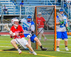 Baldwinsville Bees Connor Smith (26) gets cut off by Cicero-North Syracuse Northstars defender Sutter Donegan (33) in Section III Boys Lacrosse action at the Bragman Stadium in Cicero, New York on Thursday, May 12, 2016.  Baldwinsville won 7-6 in OT.