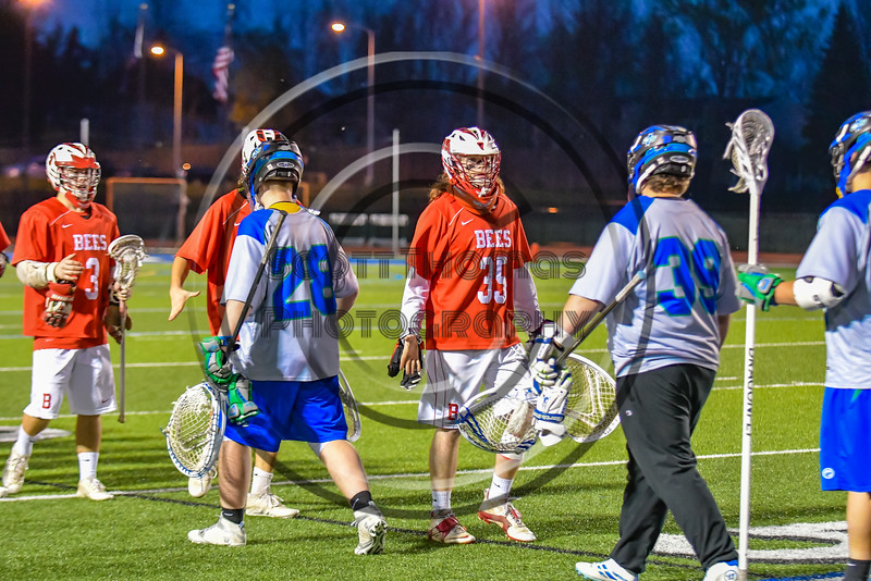 Baldwinsville Bees visited the Cicero-North Syracuse Northstars in Section III Boys Lacrosse action at the Bragman Stadium in Cicero, New York on Thursday, May 12, 2016.  Baldwinsville won 7-6 in OT.