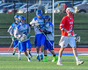 Cicero-North Syracuse Northstars players celebrate a goal by Brandon O'Brien (12) against the Baldwinsville Bees in Section III Boys Lacrosse action at the Bragman Stadium in Cicero, New York on Thursday, May 12, 2016.  Baldwinsville won 7-6 in OT.