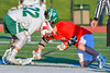 Baldwinsville Bees Ryan ingerson (3) faces off against Fayetteville-Manlius Hornets Tommy Ryu (22) in Section III Boys Lacrosse action at the Fayetteville-Manlius High School in Manlius, New York on Wednesday, May 18, 2016.  Fayetteville-Manlius won 9-8.