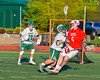 Baldwinsville Bees Charlie Bertrand (6) with the ball against the Fayetteville-Manlius Hornets in Section III Boys Lacrosse action at the Fayetteville-Manlius High School in Manlius, New York on Wednesday, May 18, 2016.  Fayetteville-Manlius won 9-8.