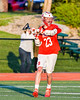 Baldwinsville Bees Matt Dickman (23) looking to make a play against the Fayetteville-Manlius Hornets in Section III Boys Lacrosse action at the Fayetteville-Manlius High School in Manlius, New York on Wednesday, May 18, 2016.  Fayetteville-Manlius won 9-8.