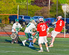 Baldwinsville Bees Charlie Bertrand (6) shoots and scores past  Fayetteville-Manlius Hornets goalie Ryan Boshart (28) in Section III Boys Lacrosse action at the Fayetteville-Manlius High School in Manlius, New York on Wednesday, May 18, 2016.  Fayetteville-Manlius won 9-8.