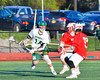 Fayetteville-Manlius Hornets Tyler Papa (14) looking to make a play against the Baldwinsville Bees in Section III Boys Lacrosse action at the Fayetteville-Manlius High School in Manlius, New York on Wednesday, May 18, 2016.  Fayetteville-Manlius won 9-8.