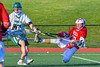 Baldwinsville Bees Ryan Gebhardt (20) shoots and scores against the Fayetteville-Manlius Hornets in Section III Boys Lacrosse action at the Fayetteville-Manlius High School in Manlius, New York on Wednesday, May 18, 2016.  Fayetteville-Manlius won 9-8.