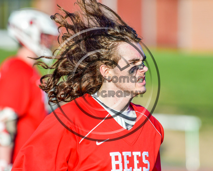 Baldwinsville Bees goalie Riley Smith (35) warms up before playing the Fayetteville-Manlius Hornets in a Section III Boys Lacrosse game at the Fayetteville-Manlius High School in Manlius, New York on Wednesday, May 18, 2016.