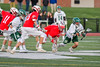 Fayetteville-Manlius Hornets Tommy Ryu (22) comes away with the ball after a face-off against Baldwinsville Bees Ryan ingerson (3) in Section III Boys Lacrosse action at the Fayetteville-Manlius High School in Manlius, New York on Wednesday, May 18, 2016.  Fayetteville-Manlius won 9-8.