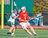 Baldwinsville Bees Charlie Bertrand (6) being defended by Fayetteville-Manlius Hornets Joe Avellino (35) in Section III Boys Lacrosse action at the Fayetteville-Manlius High School in Manlius, New York on Wednesday, May 18, 2016.  Fayetteville-Manlius won 9-8.