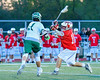 Baldwinsville Bees Dillon Darcangelo (10) leans into a shot at the Fayetteville-Manlius Hornets net in Section III Boys Lacrosse action at the Fayetteville-Manlius High School in Manlius, New York on Wednesday, May 18, 2016.  Fayetteville-Manlius won 9-8.