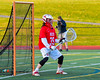 Baldwinsville Bees goalie Riley Smith (35) in net against the Fayetteville-Manlius Hornets in Section III Boys Lacrosse action at the Fayetteville-Manlius High School in Manlius, New York on Wednesday, May 18, 2016.  Fayetteville-Manlius won 9-8.
