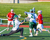 Fayetteville-Manlius Hornets goalie Ryan Boshart (28) makes a save against the Baldwinsville Bees in Section III Boys Lacrosse action at the Fayetteville-Manlius High School in Manlius, New York on Wednesday, May 18, 2016.  Fayetteville-Manlius won 9-8.