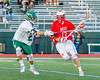 Baldwinsville Bees Peter Fiorni III (13) being defended by a Fayetteville-Manlius Hornets player in Section III Boys Lacrosse action at the Fayetteville-Manlius High School in Manlius, New York on Wednesday, May 18, 2016.  Fayetteville-Manlius won 9-8.