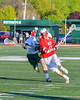 Baldwinsville Bees Peter Fiorni III (13) running with the ball against the Fayetteville-Manlius Hornets in Section III Boys Lacrosse action at the Fayetteville-Manlius High School in Manlius, New York on Wednesday, May 18, 2016.  Fayetteville-Manlius won 9-8.