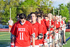 Baldwinsville Bees lined up for the National Anthem bafore playing the Fayetteville-Manlius Hornets in a Section III Boys Lacrosse game at the Fayetteville-Manlius High School in Manlius, New York on Wednesday, May 18, 2016.