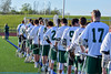 Fayetteville-Manlius Hornets lined up for the National Anthem bafore playing the Baldwinsville Bees in a Section III Boys Lacrosse game at the Fayetteville-Manlius High School in Manlius, New York on Wednesday, May 18, 2016.