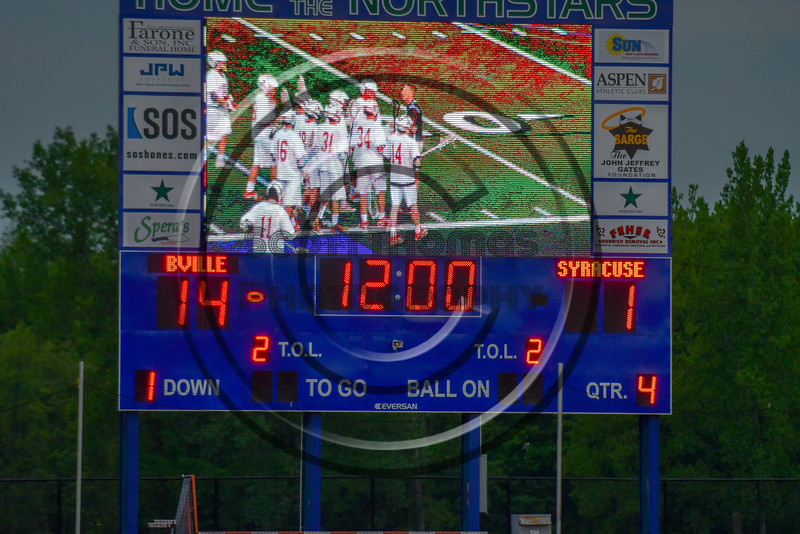Baldwinsville Bees played the Syracuse Cougars in Section III Boys Lacrosse Semi-Finals action at the Bragman Stadium in Cicero, New York on Thursday, May 26, 2016.  Baldwinsville won 16-5.