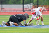 Baldwinsville Bees Ryan ingerson (3) wins a face-off against Syracuse Cougars Jakev Jackson (7) in Section III Boys Lacrosse Semi-Finals action at the Bragman Stadium in Cicero, New York on Thursday, May 26, 2016.  Baldwinsville won 16-5.