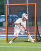 Baldwinsville Bees goalie Frank Delia (1) makes a save againt the Syracuse Cougars in Section III Boys Lacrosse Semi-Finals action at the Bragman Stadium in Cicero, New York on Thursday, May 26, 2016.  Baldwinsville won 16-5.