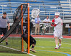Baldwinsville Bees Connor Smith (26) scores on Syracuse Cougars goalie Yoendri Alonsoo (5) in Section III Boys Lacrosse Semi-Finals action at the Bragman Stadium in Cicero, New York on Thursday, May 26, 2016.  Baldwinsville won 16-5.