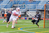 Baldwinsville Bees Connor Smith (26) scores on Syracuse Cougars goalie Yoendri Alonso (5) in Section III Boys Lacrosse Semi-Finals action at the Bragman Stadium in Cicero, New York on Thursday, May 26, 2016.  Baldwinsville won 16-5.