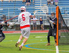 Baldwinsville Bees Charlie Bertrand (6) shoots and scores on Syracuse Cougars goalie Yoendri Alonso (5) in Section III Boys Lacrosse Semi-Finals action at the Bragman Stadium in Cicero, New York on Thursday, May 26, 2016.  Baldwinsville won 16-5.