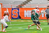 Fayetteville-Manlius Hornets Dan Burnam (23) makes a cut towards Baldwinsville Bees goalie Riley Smith (35) in Section III Boys Lacrosse Championship action at the Carrier Dome in Syracuse, New York on Saturday, May 28, 2016.  Fayetteville-Manlius won 8-7.