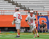 Baldwinsville Bees Kyle Pelcher (29) is greeted by Brandon Kohutanich (25) as he is introduced before playing the Fayetteville-Manlius Hornets in the Section III Class A Boys Lacrosse Championship game at the Carrier Dome in Syracuse, New York on Saturday, May 28, 2016.