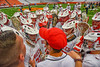 Baldwinsville Bees Coach Wilcox talk with his team after losing to the Fayetteville-Manlius Hornets in the Section III Class A Boys Lacrosse Championship game at the Carrier Dome in Syracuse, New York on Saturday, May 28, 2016.