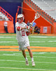 Baldwinsville Bees Peter Fiorni III (13) looking to make a play against the Fayetteville-Manlius Hornets in Section III Boys Lacrosse Championship action at the Carrier Dome in Syracuse, New York on Saturday, May 28, 2016.  Fayetteville-Manlius won 8-7.