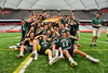 Fayetteville-Manlius Hornets players celebrate their Section III Class A Boys Lacrosse Championship after defeatiang the Baldwinsville Bees, 8-7, at the Carrier Dome in Syracuse, New York on Saturday, May 28, 2016.