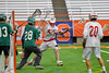Baldwinsville Bees Charlie Bertrand (6) lining up a shot at Fayetteville-Manlius Hornets goalie Ryan Boshart (28) in Section III Boys Lacrosse Championship action at the Carrier Dome in Syracuse, New York on Saturday, May 28, 2016.  Fayetteville-Manlius won 8-7.