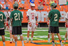 Baldwinsville Bees Peter Fiorni III (13) in the starting lineup against the Fayetteville-Manlius Hornets in the Section III Class A Boys Lacrosse Championship Game at the Carrier Dome in Syracuse, New York on Saturday, May 28, 2016.