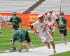 Baldwinsville Bees Peter Fiorni III (13) running with the ball against Fayetteville-Manlius Hornets in Section III Boys Lacrosse Championship action at the Carrier Dome in Syracuse, New York on Saturday, May 28, 2016.  Fayetteville-Manlius won 8-7.