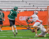 Fayetteville-Manlius Hornets James Rettinger (7) shoots and scores against the Baldwinsville Bees in Section III Boys Lacrosse Championship action at the Carrier Dome in Syracuse, New York on Saturday, May 28, 2016.  Fayetteville-Manlius won 8-7.