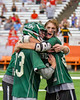 Fayetteville-Manlius Hornets players celebrate their win over the Baldwinsville Bees for the Section III Boys Lacrosse Championship at the Carrier Dome in Syracuse, New York on Saturday, May 28, 2016.