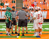 Baldwinsville Bees and Fayetteville-Manlius Hornets Team Captains meed with officials before the Section III Class A Boys Lacrosse Championship game at the Carrier Dome in Syracuse, New York on Saturday, May 28, 2016.