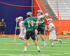 Fayetteville-Manlius Hornets Tyler Papa (14) congratulates Mac Fish (6) on his goal against the Baldwinsville Bees in Section III Boys Lacrosse Championship action at the Carrier Dome in Syracuse, New York on Saturday, May 28, 2016.  Fayetteville-Manlius won 8-7.