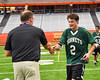 Fayetteville-Manlius Hornets Brett Barlow (2) receives his award after winning the Section III Class A Boys Lacrosse Championship game at the Carrier Dome in Syracuse, New York on Saturday, May 28, 2016.