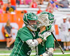 Fayetteville-Manlius Hornets Donovan Welsh (4) gets congratulated on his goal against the Baldwinsville Bees in Section III Boys Lacrosse Championship action at the Carrier Dome in Syracuse, New York on Saturday, May 28, 2016.  Fayetteville-Manlius won 8-7.