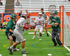Fayetteville-Manlius Hornets goalie Ryan Boshart (28) makes a save on Baldwinsville Bees Ryan Gebhardt (20) in Section III Boys Lacrosse Championship action at the Carrier Dome in Syracuse, New York on Saturday, May 28, 2016.  Fayetteville-Manlius won 8-7.