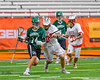 Baldwinsville Bees John Petrelli (33) checks Fayetteville-Manlius Hornets Tyler Papa (14) in Section III Boys Lacrosse Championship action at the Carrier Dome in Syracuse, New York on Saturday, May 28, 2016.  Fayetteville-Manlius won 8-7.