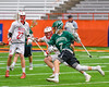 Baldwinsville Bees Patrick Delpha (11) keeping up with Fayetteville-Manlius Hornets James Rettinger (7) in Section III Boys Lacrosse Championship action at the Carrier Dome in Syracuse, New York on Saturday, May 28, 2016.  Fayetteville-Manlius won 8-7.