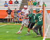 Baldwinsville Bees Charlie Bertrand's (6)  shot is blocked by Fayetteville-Manlius Hornets defender Joe Avellino (35)  in Section III Boys Lacrosse Championship action at the Carrier Dome in Syracuse, New York on Saturday, May 28, 2016.  Fayetteville-Manlius won 8-7.